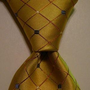 MURANO 100% SILK Necktie PLAID Yellow/Orange NWT